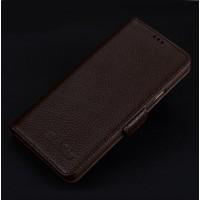 Кожаный чехол портмоне подставка (премиум нат. кожа) с крепежной застежкой для Iphone 7 Plus  Коричневый