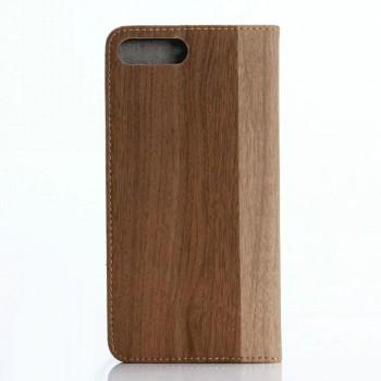 Чехол портмоне подставка текстура Дерево на пластиковой основе для Iphone 7 Plus