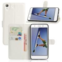 Чехол портмоне подставка на силиконовой основе на магнитной защелке для Huawei Y6II  Белый