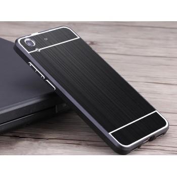Двухкомпонентный чехол c металлическим бампером с поликарбонатной накладкой и текстурным покрытием Металл для Huawei Y6II