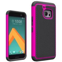 Противоударный двухкомпонентный силиконовый матовый непрозрачный чехол с поликарбонатными вставками экстрим защиты для HTC 10  Пурпурный