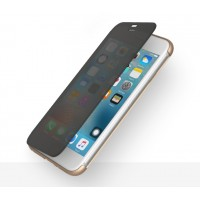 Пластиковый непрозрачный матовый чехол с полупрозрачной крышкой с зеркальным покрытием для Iphone 7 Plus  Черный
