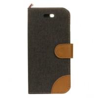 Чехол горизонтальная книжка подставка на силиконовой основе с тканевым покрытием и отсеком для карт на дизайнерской магнитной защелке для Iphone 7  Черный
