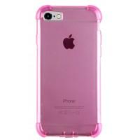Силиконовый матовый полупрозрачный чехол с улучшенной защитой элементов корпуса (заглушки) для Iphone 7  Розовый