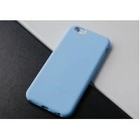 Силиконовый матовый непрозрачный нескользящий премиум софт-тач чехол для Iphone 7  Голубой