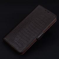 Кожаный чехол портмоне подставка (премиум нат. кожа крокодила) с крепежной застежкой для Iphone 7  Коричневый