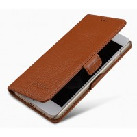 Кожаный чехол портмоне подставка (премиум нат. кожа крокодила) с крепежной застежкой для Iphone 7