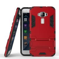 Противоударный двухкомпонентный силиконовый матовый непрозрачный чехол с поликарбонатными вставками экстрим защиты с встроенной ножкой-подставкой для Asus ZenFone 3 5.2  Красный