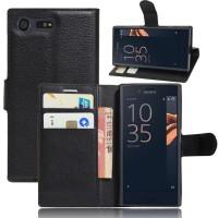 Чехол портмоне подставка на силиконовой основе на магнитной защелке для Sony Xperia X Compact  Черный