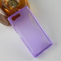 Силиконовый матовый полупрозрачный чехол с дизайнерской текстурой S для Sony Xperia X Compact  Фиолетовый