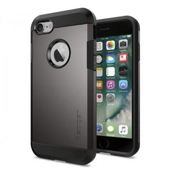 Противоударный двухкомпонентный силиконовый матовый непрозрачный чехол с поликарбонатными вставками экстрим защиты для Iphone 7