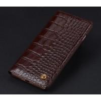 Кожаный чехол горизонтальная книжка (премиум нат. кожа крокодила) для Iphone 7  Коричневый