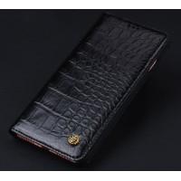 Кожаный чехол горизонтальная книжка (премиум нат. кожа крокодила) для Iphone 7  Черный
