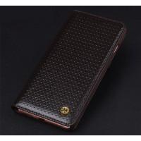 Кожаный чехол горизонтальная книжка (премиум нат. вощеная кожа) для Iphone 7  Коричневый