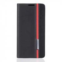 Чехол горизонтальная книжка подставка текстура Линии на силиконовой основе для Huawei Y6II  Черный