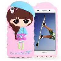 Силиконовый матовый непрозрачный дизайнерский фигурный чехол для Huawei Y6II  Розовый