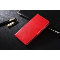 Глянцевый чехол портмоне подставка на пластиковой основе на магнитной защелке для Xiaomi RedMi Note 4  Красный