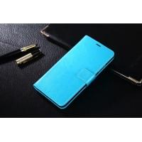 Глянцевый чехол портмоне подставка на пластиковой основе на магнитной защелке для Xiaomi RedMi Note 4  Голубой