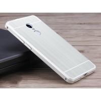 Двухкомпонентный чехол c металлическим бампером с поликарбонатной накладкой и текстурным покрытием Металл для Xiaomi RedMi Note 4  Белый