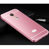 Двухкомпонентный чехол c металлическим бампером с поликарбонатной накладкой для Xiaomi RedMi Note 4  Розовый