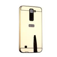 Двухкомпонентный чехол c металлическим бампером с поликарбонатной накладкой и зеркальным покрытием для LG K7