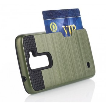 Силиконовый матовый непрозрачный дизайнерский фигурный чехол с отделением для карт для LG K7