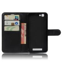 Чехол портмоне подставка на пластиковой основе на магнитной защелке для ZTE Blade A610  Черный
