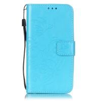 Чехол портмоне подставка текстура Узоры на силиконовой основе на магнитной защелке для LG K7  Голубой
