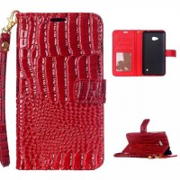 Чехол портмоне подставка текстура Крокодил на пластиковой основе на дизайнерской магнитной защелке для Microsoft Lumia 640  Красный