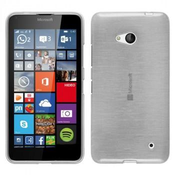 Силиконовый матовый полупрозрачный чехол с текстурным покрытием Металлик для Microsoft Lumia 640