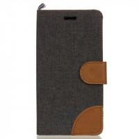 Чехол горизонтальная книжка подставка текстура Ткань на силиконовой основе с отсеком для карт с на дизайнерской магнитной защелке для LG K7  Черный