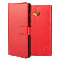Винтажный чехол портмоне подставка на пластиковой основе на магнитной защелке для Microsoft Lumia 640  Красный