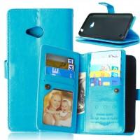Глянцевый чехол портмоне подставка на пластиковой основе с отсеком для карт на магнитной защелке для Microsoft Lumia 640