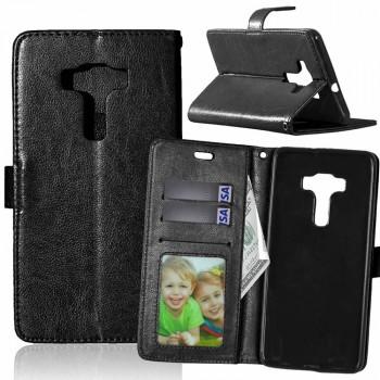 Глянцевый чехол портмоне подставка на силиконовой основе на магнитной защелке для Asus ZenFone 3 Deluxe