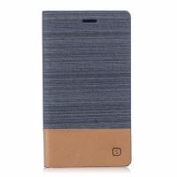 Чехол портмоне подставка на силиконовой основе с тканевым покрытием для BQ Aquaris X5  Серый