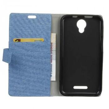 Чехол портмоне подставка на силиконовой основе с тканевым покрытием на магнитной защелке для Alcatel Pixi 4 (5) 5010D