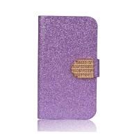 Чехол горизонтальная книжка подставка текстура Золото на силиконовой основе с отсеком для карт на дизайнерской магнитной защелке для Alcatel Pixi 4 (5) 5010D Фиолетовый