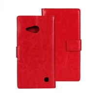 Глянцевый водоотталкивающий чехол портмоне подставка на пластиковой основе на магнитной защелке для Nokia Lumia 730/735  Красный