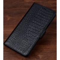 Кожаный чехол портмоне подставка (премиум нат. кожа крокодила) с крепежной застежкой для Sony Xperia XZ
