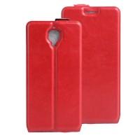Чехол вертикальная книжка на силиконовой основе с отсеком для карт на магнитной защелке для OnePlus 3 Красный