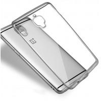 Силиконовый глянцевый полупрозрачный чехол текстура Металлик для OnePlus 3 Серый