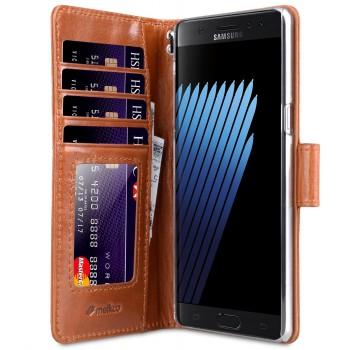 Винтажный кожаный чехол портмоне подставка на пластиковой основе на магнитной защелке для Samsung Galaxy Note 7
