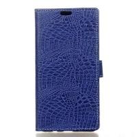 Чехол портмоне подставка текстура Крокодил на силиконовой основе на магнитной защелке для Asus ZenFone 3 5.2  Синий