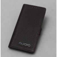 Кожаный чехол горизонтальная книжка подставка с крепежной застежкой для ZTE Nubia Z11  Коричневый