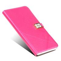 Чехол горизонтальная книжка подставка на силиконовой основе на дизайнерской магнитной защелке для ZTE Nubia Z11  Пурпурный
