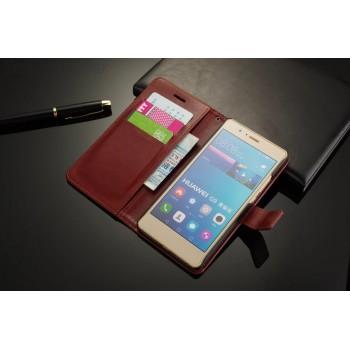 Винтажный чехол портмоне подставка на пластиковой основе на магнитной защелке для Huawei P9 Lite