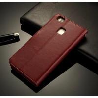 Винтажный чехол портмоне подставка на пластиковой основе на магнитной защелке для Huawei P9 Lite  Коричневый
