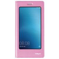 Чехол флип подставка на пластиковой основе с полноэкранным окном вызова для Huawei P9 Lite  Розовый