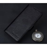 Кожаный чехол портмоне подставка (премиум нат. кожа) с крепежной застежкой для ZTE Nubia Z11 Черный
