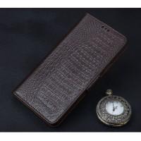 Кожаный чехол портмоне подставка (премиум нат. кожа крокодила) с крепежной застежкой для ZTE Nubia Z11